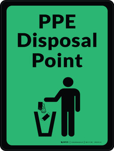 PPE Disposal Point with Icon Green Portrait - Wall Sign