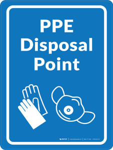 PPE Disposal Point with Icons Blue Portrait - Wall Sign