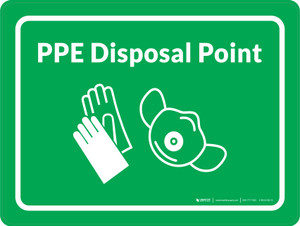PPE Disposal Point with Icons Green Landscape - Wall Sign