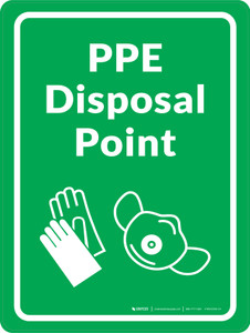 PPE Disposal Point with Icons Green Portrait - Wall Sign