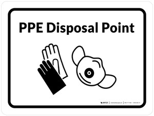 PPE Disposal Point with Icons Landscape - Wall Sign
