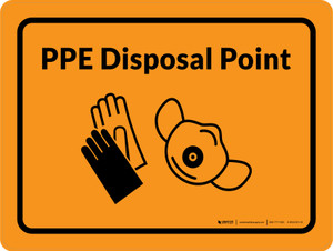 PPE Disposal Point with Icons Orange Landscape - Wall Sign