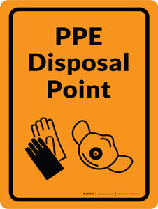 PPE Disposal Point with Icons Orange Portrait - Wall Sign