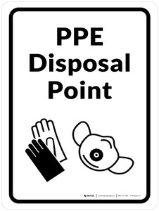 PPE Disposal Point with Icons Portrait - Wall Sign