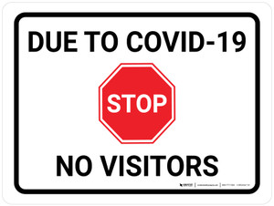 Stop Due To COVID-19 No Visitors with Icon Landscape - Wall Sign
