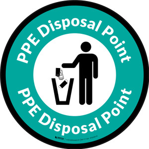 PPE Disposal Point with Icon Green Border Circular - Floor Sign