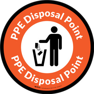 PPE Disposal Point with Icon Orange Border Circular - Floor Sign