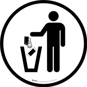 PPE Disposal Icon Only Circular - Floor Sign