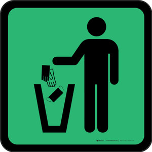 PPE Disposal Icon Only Green Square - Floor Sign
