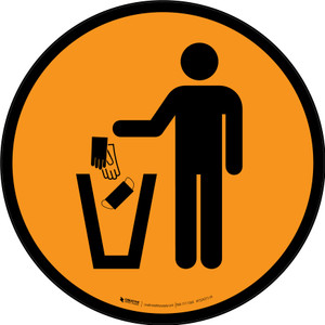 PPE Disposal Icon Only Orange Circular - Floor Sign