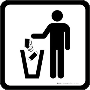 PPE Disposal Icon Only Square - Floor Sign