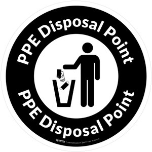 PPE Disposal Point with Icon Circular - Floor Sign