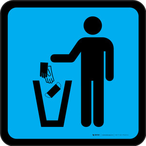 PPE Disposal Icon Only Blue Square - Floor Sign