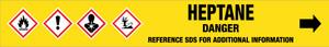 Heptane [CAS# 142-82-5] - GHS Pipe Marking Label