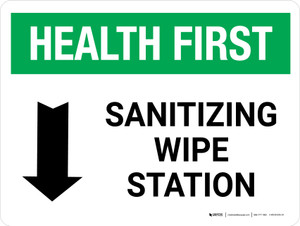 Health First: Sanitizing Wipe Station with Down Arrow Landscape - Wall Sign
