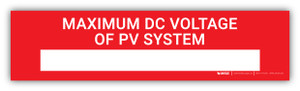 Maximum DC Voltage Of PV System with Write-In - Arc Flash Label