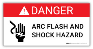 Danger Arc Flash and Shock Hazard with Icon - Arc Flash Label