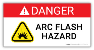 Danger Arc Flash Hazard with Hazard Icon - Arc Flash Label