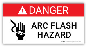 Danger Arc Flash Hazard with Icon- Arc Flash Label