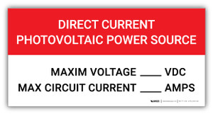 Direct Current Photovoltaic Power Source - Arc Flash Label