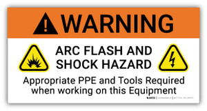 Warning Arc Flash And Shock Hazard PPE And Tools Required with Icons - Arc Flash Label