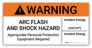Warning Arc Flash And Shock Hazard PPE Required Incident Energy - Arc Flash Label