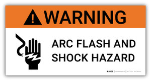 Warning Arc Flash And Shock Hazard with Icon - Arc Flash Label