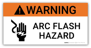 Warning Arc Flash Hazard with Icon - Arc Flash Label