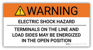Warning Electric Shock Hazard Terminals May Be Energized - Arc Flash Label