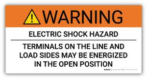 Warning Electric Shock Hazard Terminals May Be Energized - Arc Flash Label