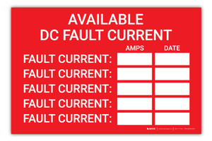 Available DC Fault Current Log - Arc Flash Label