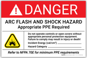 Danger: Arc Flash And Shock Do Not operate Controls or Open Covers - Arc Flash Label