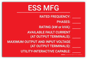 ESS MFG with Write-Ins - Arc Flash Label