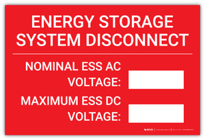 Energy Storage System Disconnect - Nominal ESS AC/Maximum ESS DC  - Arc Flash Label