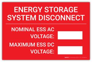 Energy Storage System Disconnect - Nominal ESS AC/Maximum ESS DC  - Arc Flash Label