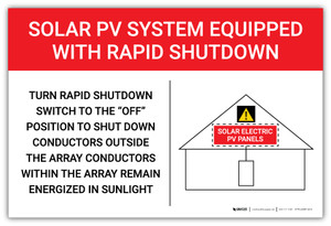 Solar PV System Equipped With Rapid Shutdown Red Landscape - Arc Flash Label