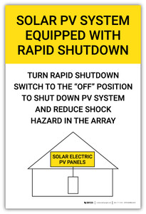 Solar PV System Equipped With Rapid Shutdown Yellow Vertical - Arc Flash Label