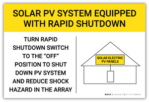 Solar PV System Equipped With Rapid Shutdown Yellow Landscape - Arc Flash Label