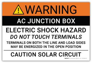 Warning: AC Junction Box/Electric Shock Hazard - Arc Flash Label