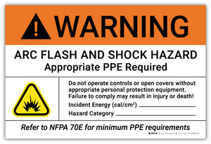 Warning: Arc Flash and Shock Hazard Appropriate PPE Required with Icon - Arc Flash Label