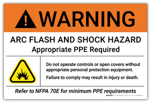 Warning: Arc Flash And Shock Hazard Do Not Operate Controls or Open Covers  with Icon - Arc Flash Label