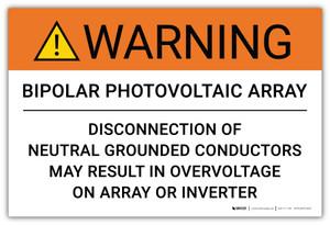 Warning: Bipolar Photovoltaic Array - Arc Flash Label