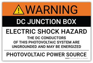 Warning: DC Junction Box Electric Shock Hazard - Arc Flash Label