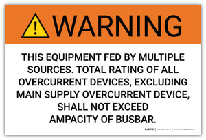 Warning: This Equipment Fed By Multiple Sources - Arc Flash Label