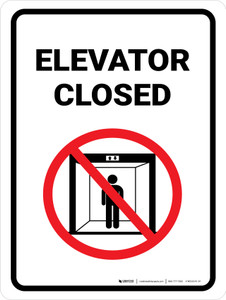 Elevator Closed with Icon Portrait - Wall Sign