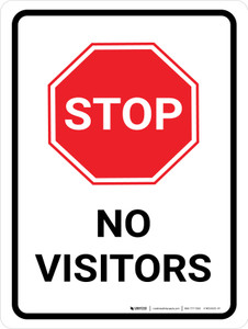 Stop No Visitors with Icon Portrait - Wall Sign