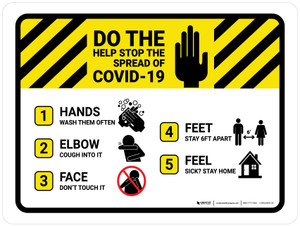 Do The Five Help Stop The Spread Of COVID-19 with Icons Landscape - Wall Sign