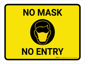 No Mask No Entry with Icon Landscape - Wall Sign