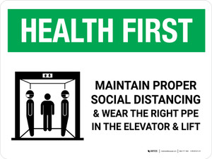 Health First: Social Distancing & PPE In Elevator with Icon Landscape - Wall Sign