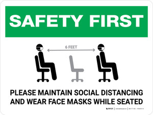 Safety First: Maintain Social Distancing Wear Face Masks While Seated with Icon Landscape - Wall Sign